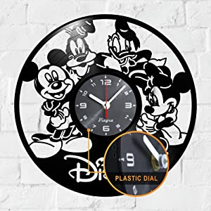 "Vinyra Vinyl Wall Clock Compatible with Walt Disney Mickey Minnie Mouse Donald Duck Goofy Themed Home - Kids Gift Idea Cartoon Characters Nursery Decoration Wall Art Decor Room 12"" LP Record Black"