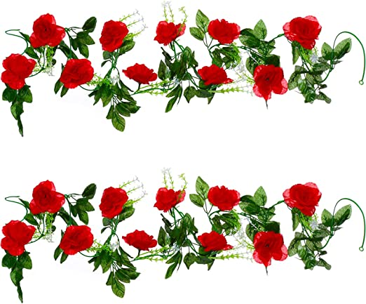 Amazon Com Well Love Artificial Flower Rose Vine Garland 8ft