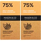 Mason & Co. 75% Zesty Orange Dark Organic Exotic Artisanal Chocolate - 70g (Pack Of 2)