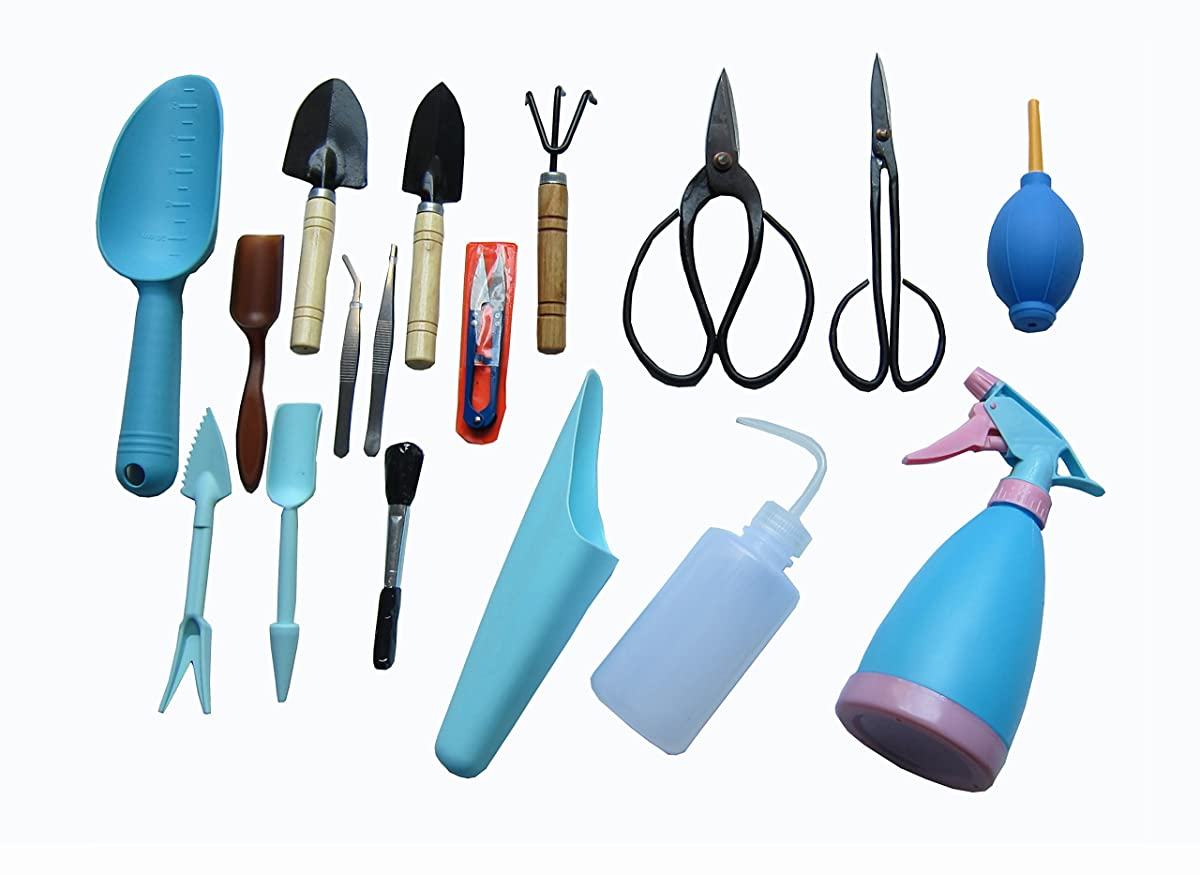 FITOOL Bonsai Tools 17Piece Set, Bonsai Shear Set, Succulent Garden Tools Kit 17Pack