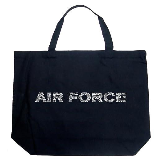 La Pop Art Word Art Large Tote Bag Air Force Song Lyrics Word Art Black