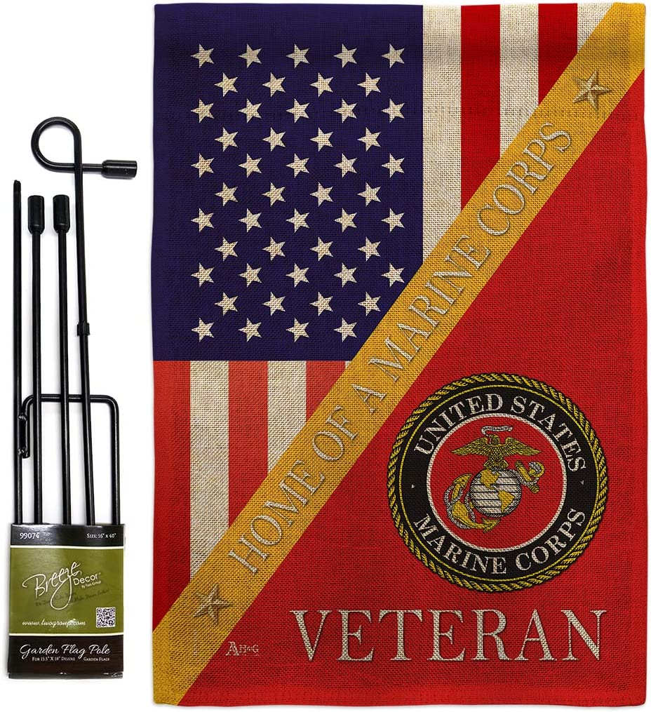 Home of Marine Corps Burlap Garden Flag - Set with Stand Armed Forces USMC Semper Fi United State American Military Veteran Retire Official - House Banner Small Yard Gift Double-Sided 13 X 18.5