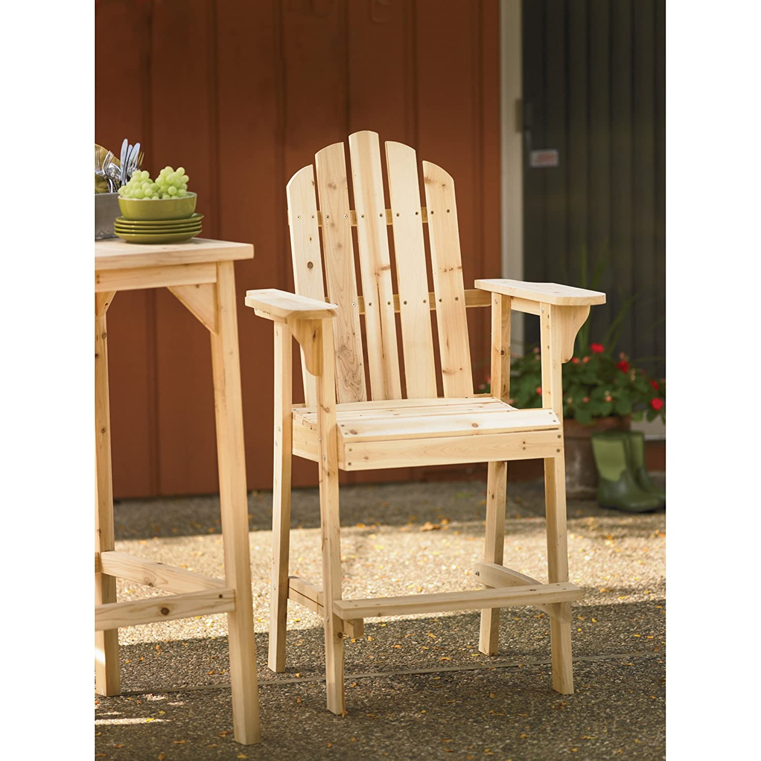amazoncom tall unfinished fir wood adirondack chair bar height adirondack chairs garden u0026 outdoor