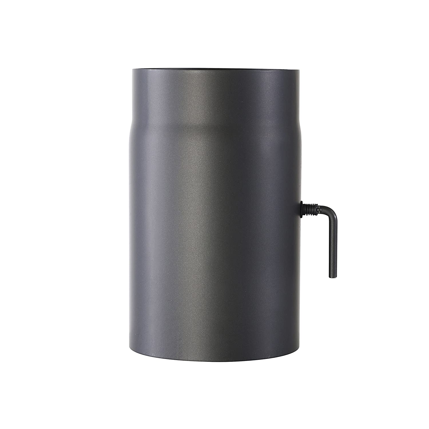 Kamino - Flam Ø 150 mm Stove Pipe with Throttle, approx. 250 mm Straight Length Flue Pipe with Damper, Steel Stove Pipe Extension with with Throttle Flap, Heat Resistant Senotherm Coating, Grey 331884