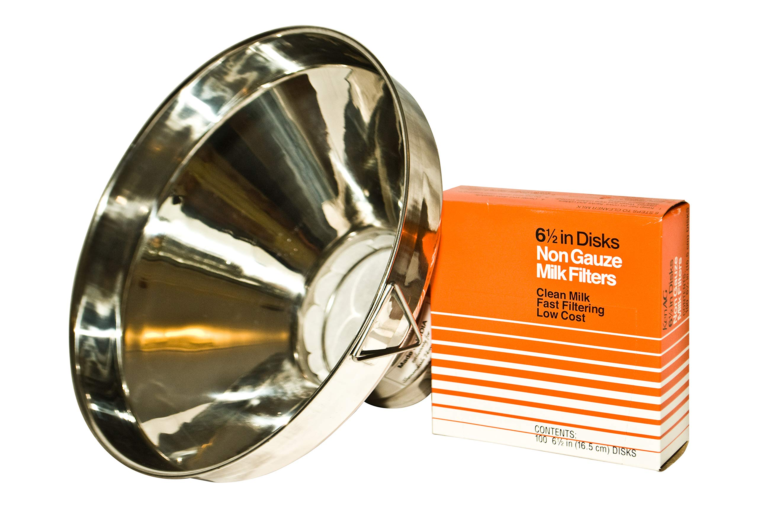 Large Stainless Steel Milk Strainer, 13'' Solid, Smooth, and Seamless- Includes 100 Filters
