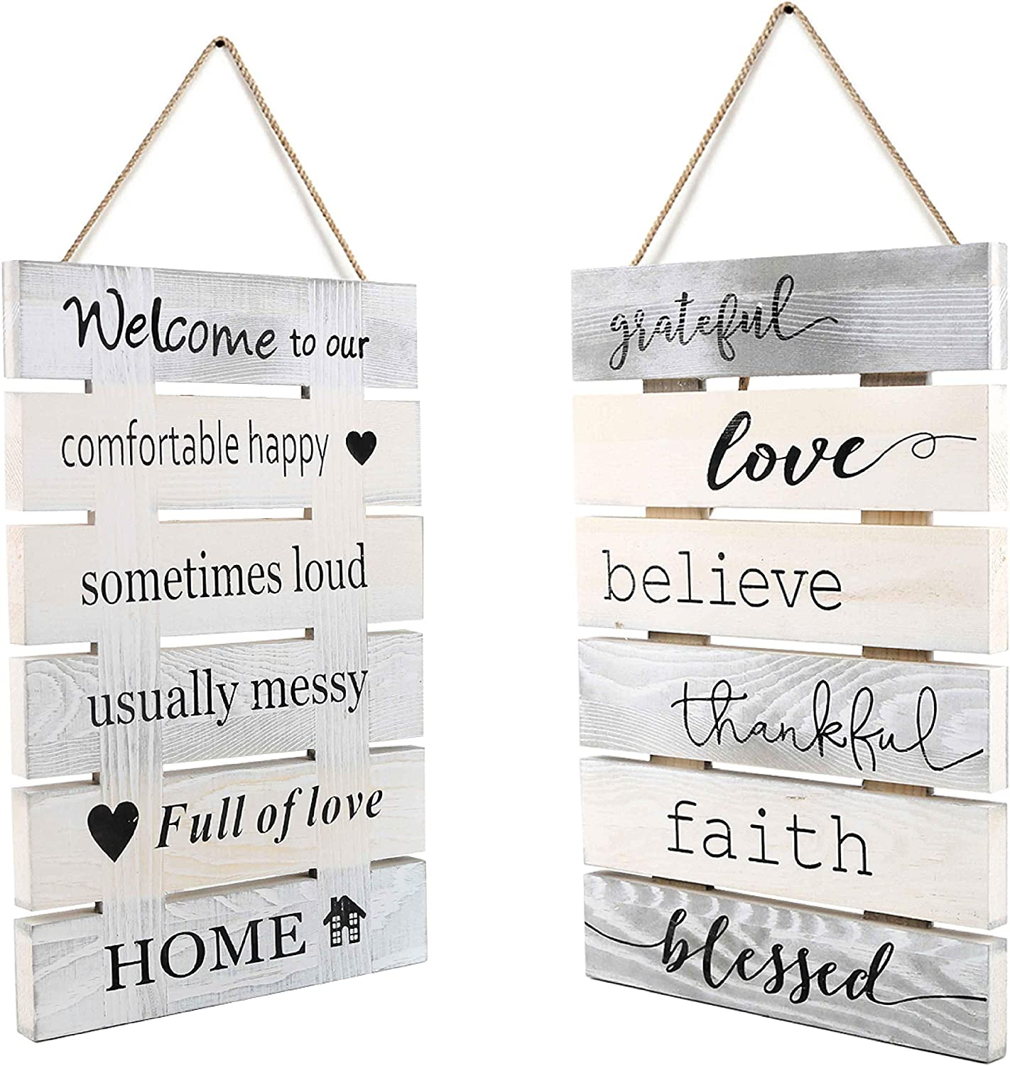 Antique Solid Wooden 2 Sides Printing Inspirational Home Kitchen Farmhouse Wall Decor Signs-Welcome to Our House Faith Love Quotes Signs