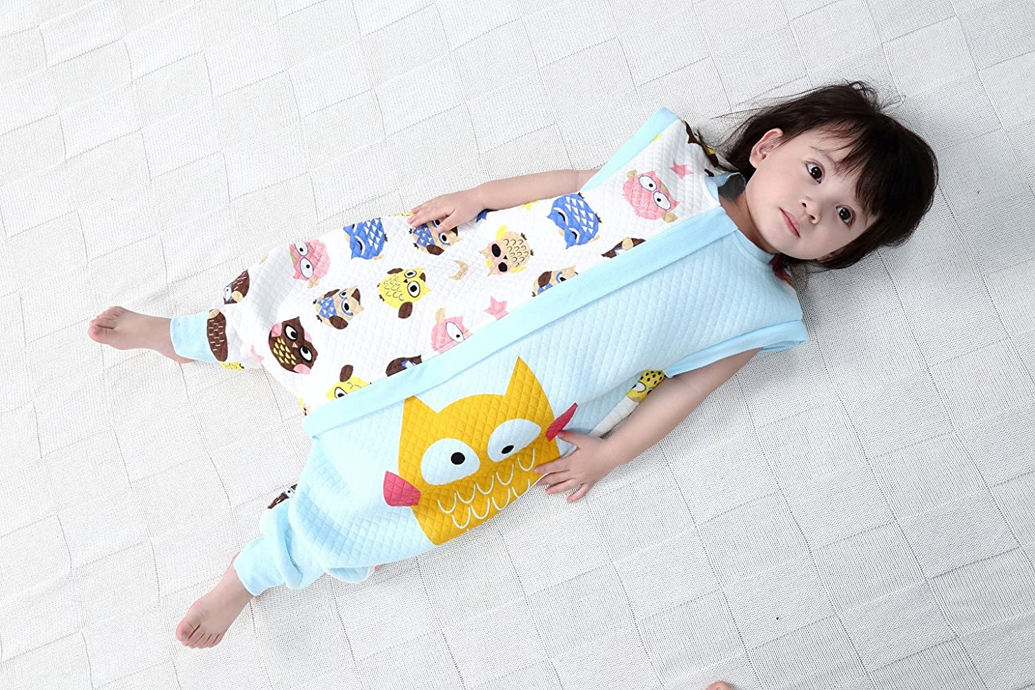 Baby Sleeping Bag With Zipper Legs Separated Sleeves Removable 1.5 Tog,Pink Apple M