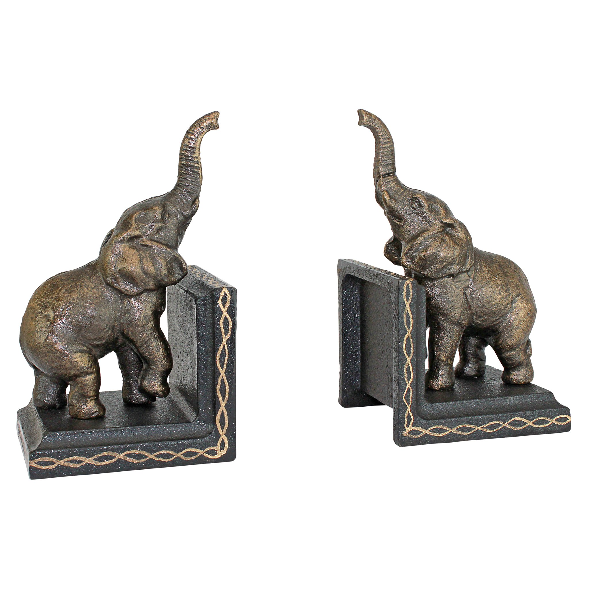 Design Toscano Triumphant Elephant Cast Iron Sculptural Bookend Pair, Gold