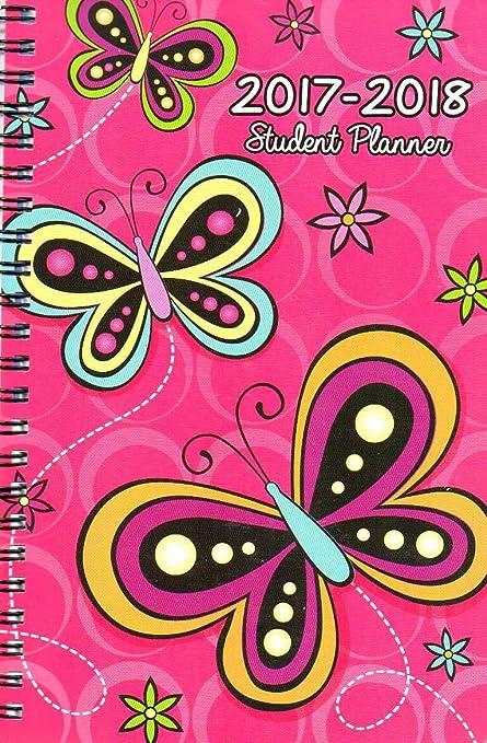 2017 - 2018 Student Planner Calendar (Butterfly) - School College Weekly / Monthly Agenda - Appointment Book Organizer - (Spiral Bound)