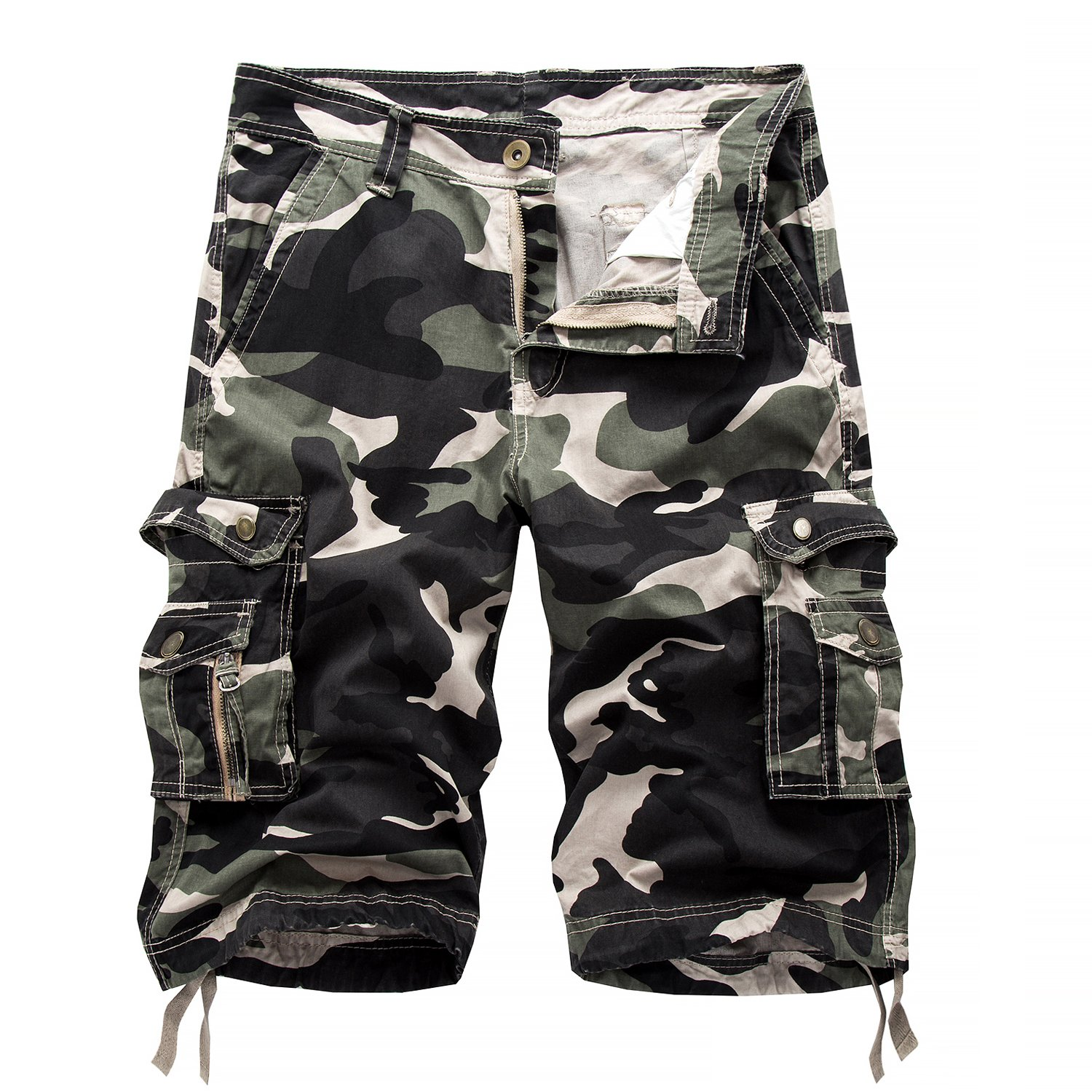Hycsen Mens Cotton Relaxed Fit Fit Outdoor Camouflage Camo Cargo Shorts-Shallow army-36