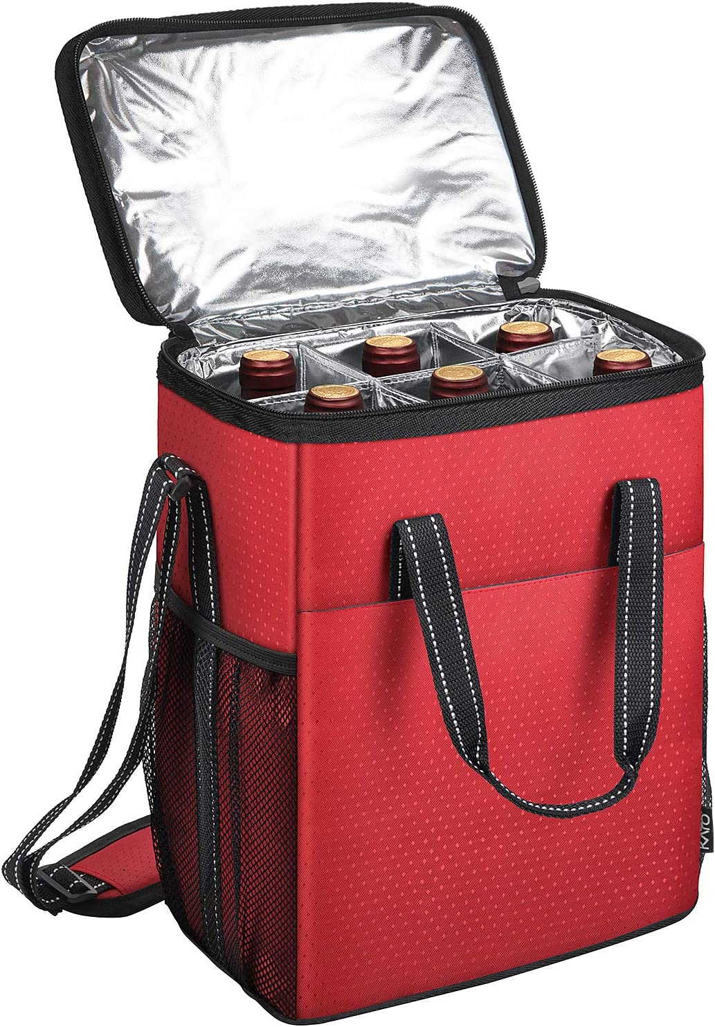 6 Bottle Wine Carrier - Insulated & Padded Wine Carrying Cooler Tote Bag for Travel, Camping and Picnic, Ideal Wine Lover Gift, Star Dot Pattern, Red