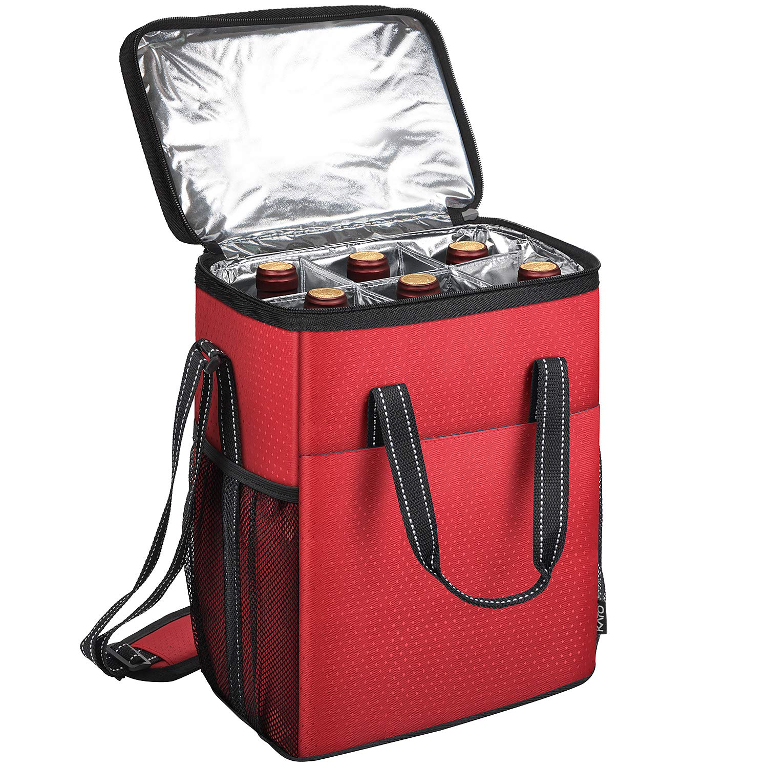Kato 6 Bottle Wine Carrier - Insulated & Padded Wine Carrying Cooler Tote Bag for Travel, Camping and Picnic, Ideal Wine Lover Gift, Star Dot Pattern, Black