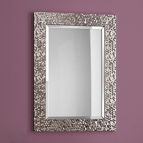 Specchi Moderni Con Cornice.Soak Arredo Bagno Specchio Moderno Con Cornice Bordo Smussato Montaggio A Parete Grigio Peltro