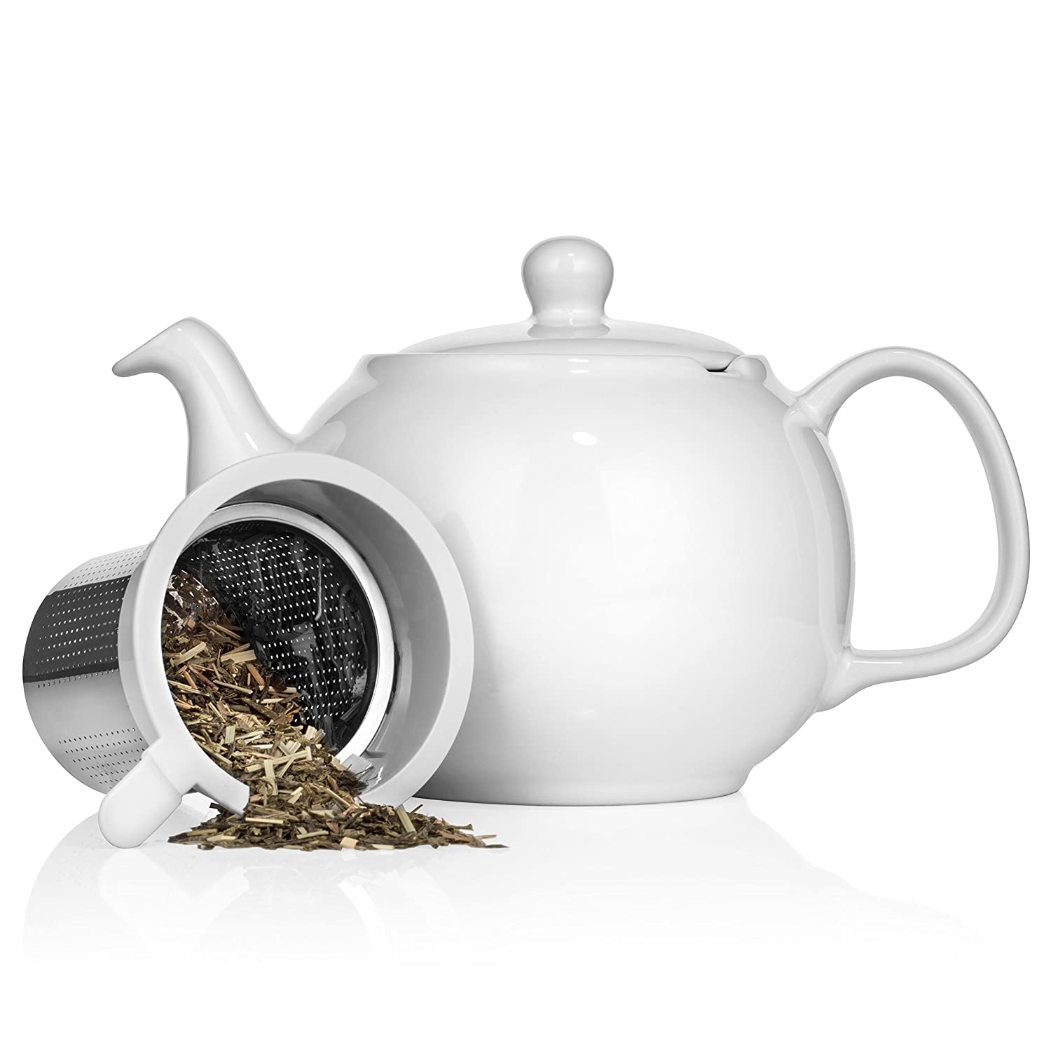 Saki Large Porcelain Teapot with Removable Stainless Steel Infuser, 48 ounce tea pot (White)