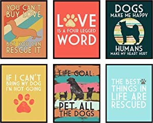 Silly Goose Gifts Love is A Four Legged Word - Rescue Dog Themed Room Wall Art Print Decoration (Set of 6)