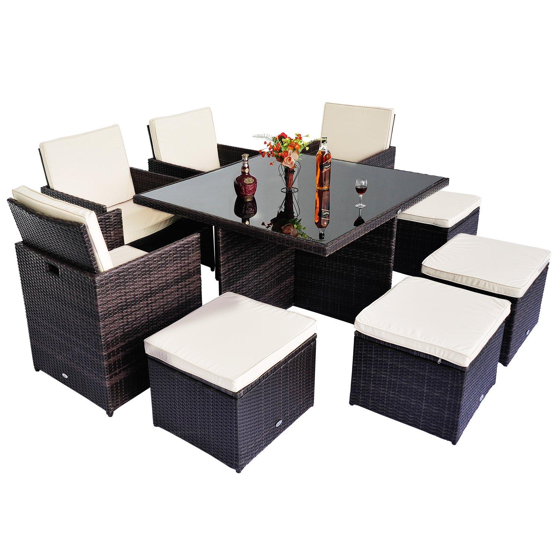 9pc rattan garden furniture aluminium outdoor patio set cube weave