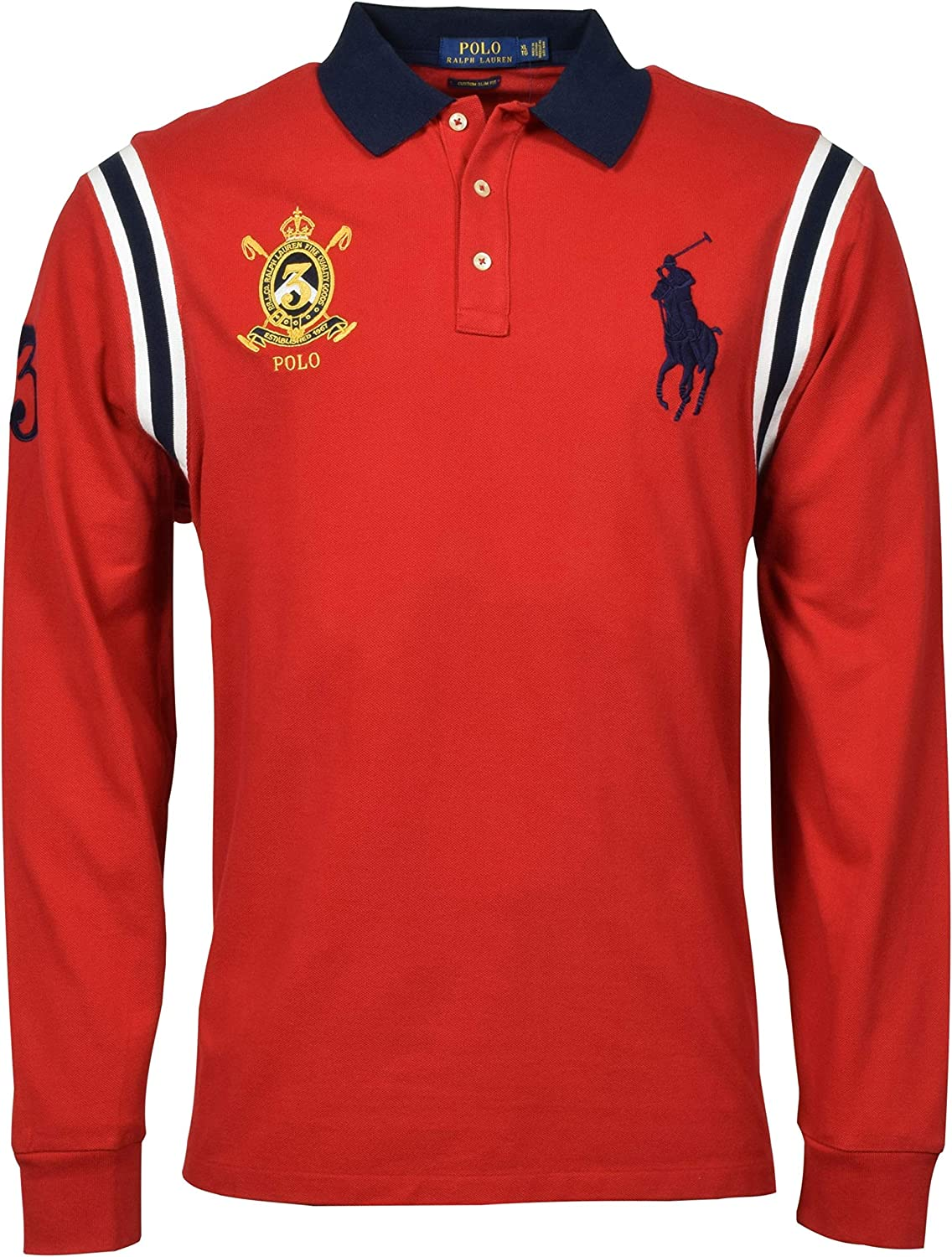 dentista nulla occupato  Polo Ralph Lauren Men's Custom Slim Fit Long Sleeve Big Pony Polo Shirt - M  - Red at Amazon Men's Clothing store