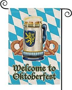 AVOIN Welcome to Oktoberfest Bavaria Beer Mug Pretzel Garden Flag Vertical Double Sided, Celebration Yard Outdoor Decoration 12.5 x 18 Inch