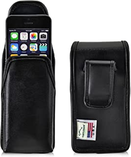 product image for Turtleback Holster Compatible with Apple iPhone SE 5 5s 5c Black Belt Case Leather Pouch with Executive Belt Clip Horizontal Made in USA