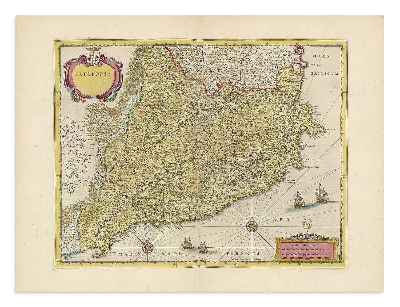 Map Of Spain Huesca.Amazon Com The Blaeu Prints Huesca Spain Catalunya Historical