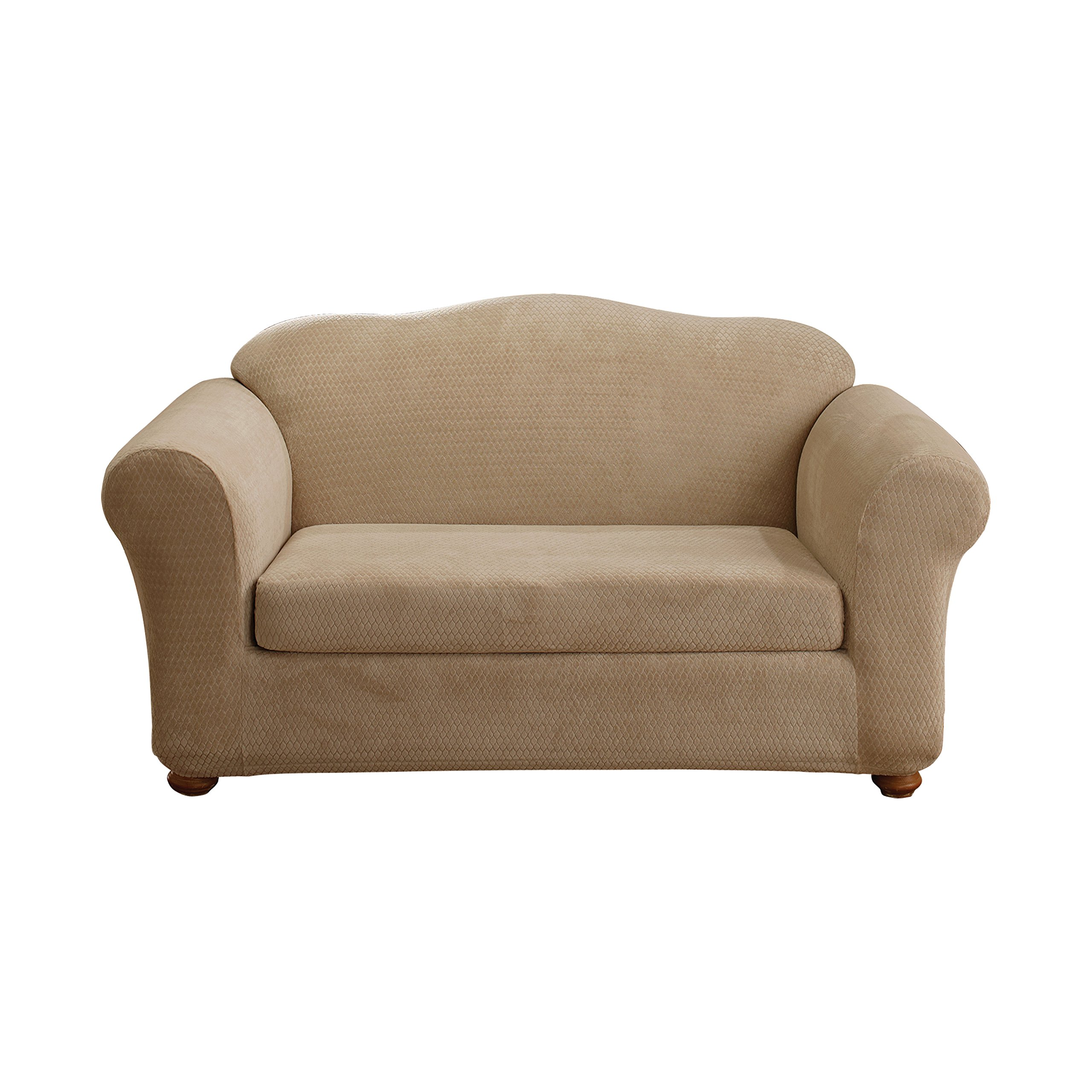 Sure Fit Stretch Royal Diamond 2-Piece - Sofa Slipcover  - Cream (SF36767) by Surefit