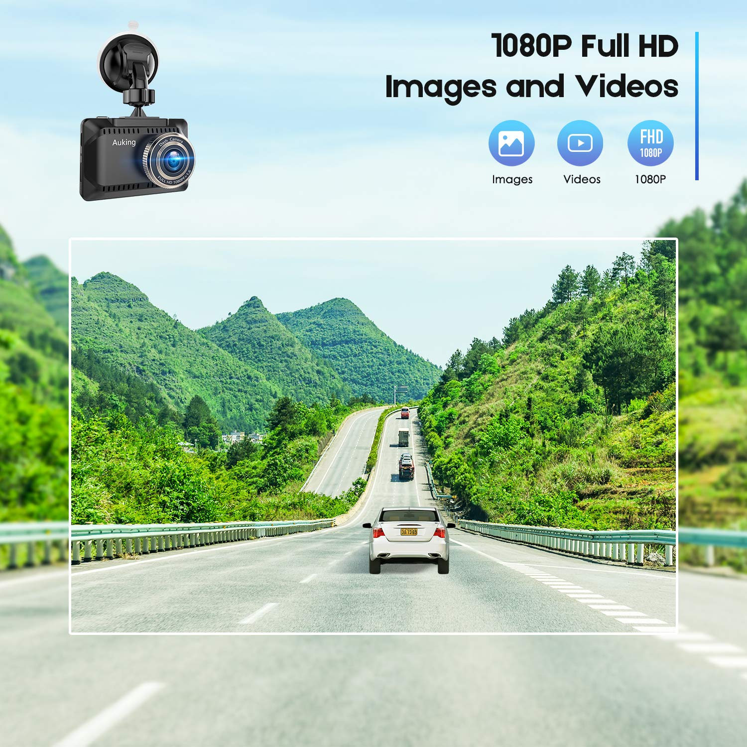 AuKing WiFi Dash Cam 1080P Full HD Dash Camera for Cars 2.45 Inch IPS Screen Car Camera Driving Recorder with Phone APP, G-Sensor, 170 Wide Angle, WDR, Loop Recording, Night Vision, Parking Monitor