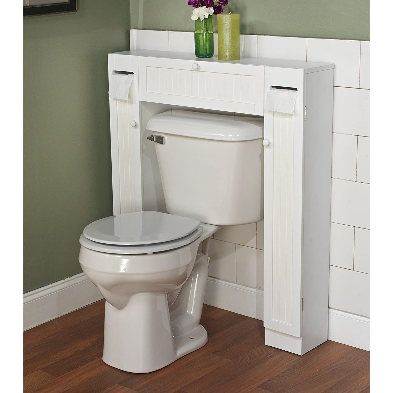 amazoncom over the toilet space saver by simple living 1 center cabinet and 2 side cabinets in white wood material gives extra storage for every