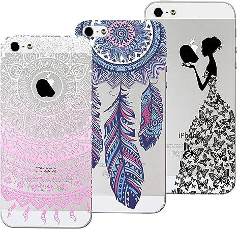 Yokata [3 Pack Cover iPhone 5S / 5 / SE, Custodia Silicone TPU Trasparente con Disegni Cover Morbida Ultra Sottile Slim Antiurto Protettiva Case Cover ...