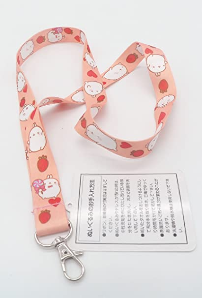 Cute Molang with Strawberries and Lollipop Lanyard Key Chain Strap