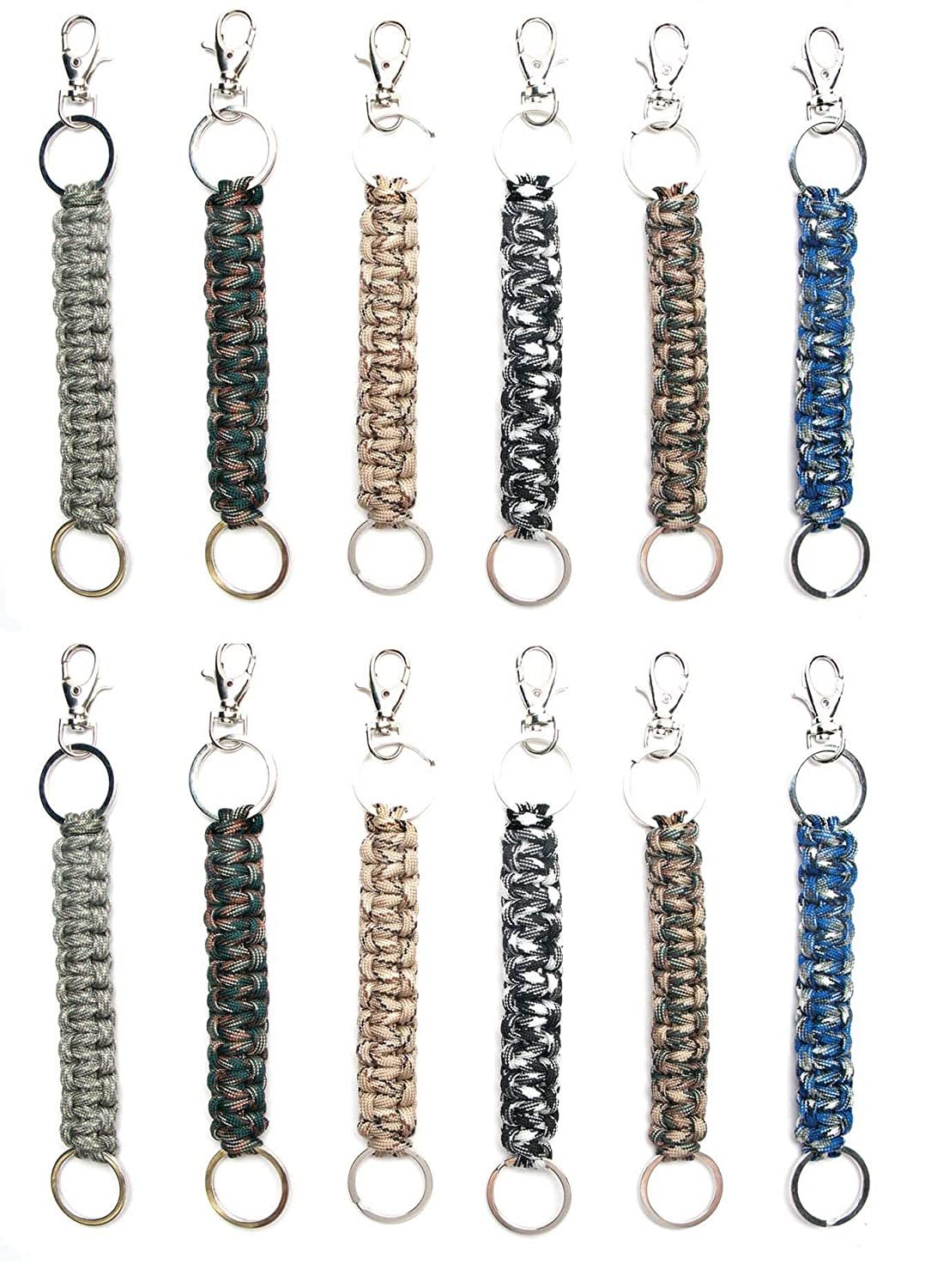 Paracord Keychain Keyrings for Men Boys Women Girls (12 Pack) Voodoo Doll Cobra Braid Key Fobs Braided with Genuine Parachute Cord Great Paracord Party Favors (Paradolls) Frogsac