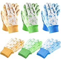 SEUROINT 6 Pairs Garden Gloves, Men and Women Working Gloves for Small Yard Tools Gardening PVC Dots Cotton Gloves, Medium Size