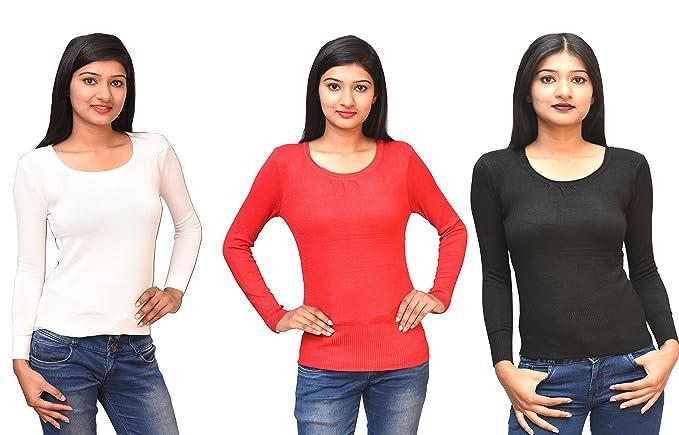 Otia Women S Woolen Full Sleeves Sweater Blouse Combo Black Red
