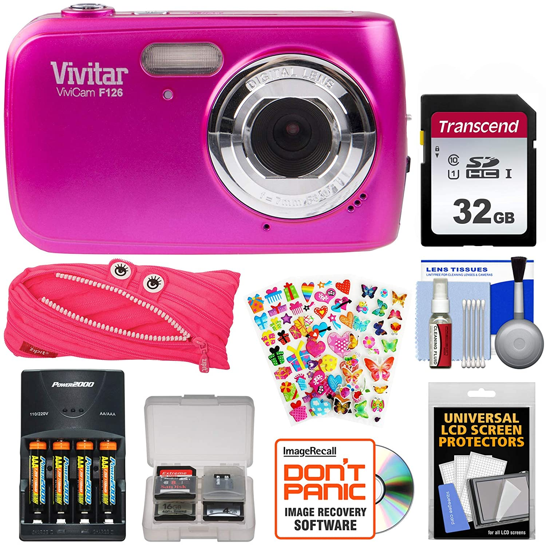 Vivitar ViviCam f126デジタルカメラ(ピンク) with 32 GBカード+電池&充電器+ポーチケース+ステッカーパック+キット   B0789QZND1