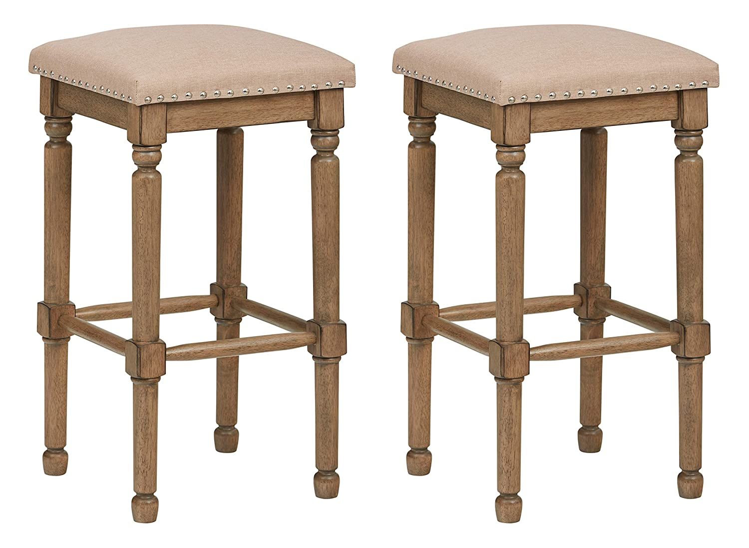 Ravenna Home Ferris Nailhead Wood Detailed Bar Stool, 29.3  H, Weathered Oak with Linen Fabric (2 Pack)