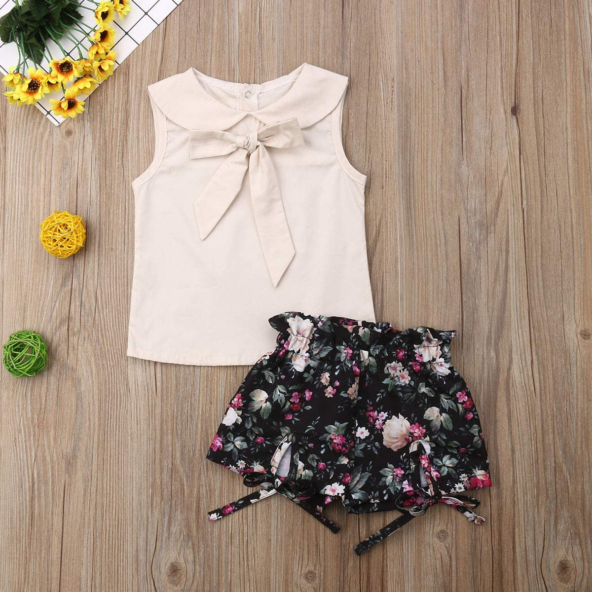 2 pcs//Set Toddler Baby Girl Clothes Flower T-Shirt Tops Sunflower Leggings Pants Outfit