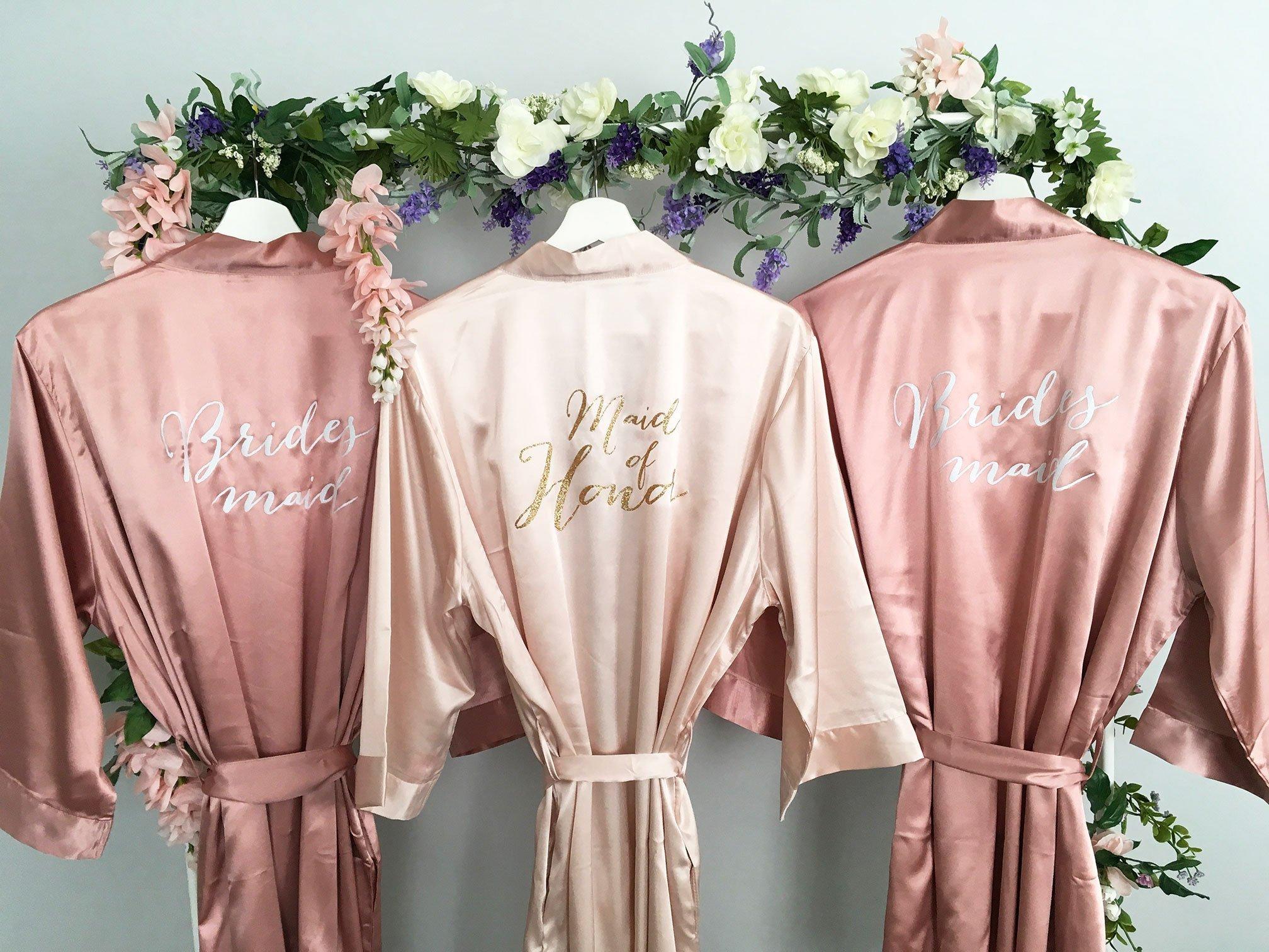 Bridesmaid Robe, Maid of Honor Robe, Set of 3 Satin Robes, Blush, Rose Gold, Mauve, Dusty Rose, Vintage Pink Wedding, Bridal Party Robes, MANY COLORS