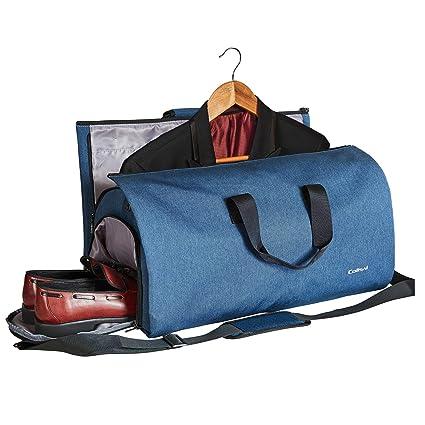 Colisal Portatrajes Hombre 60L Bolsa Viaje Plegable, Bolsa Traje con Compartimentos para Zapatos y Correa Bandolera, Funda de Traje Mujeres Azul