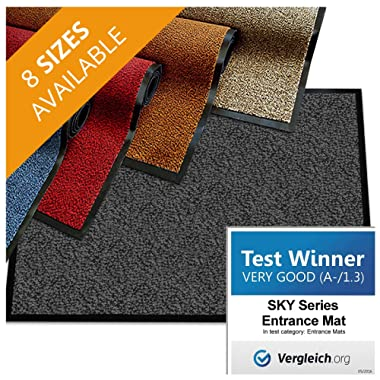 casa pura Premium Entry Mat | Entrance Mat Comparison Test Score: Very Good (A-/1.3) | Ideal as Front Door Mat or Entry Rug | Charcoal Gray - 24  x 36