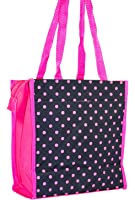 J Garden Polka Dot Print Collection Canvas Travel Tote Bag with Coin Purse 12-inch