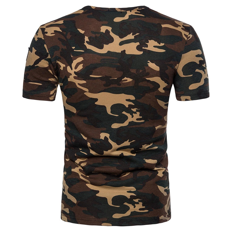 Camiseta Hombre,Longra ★ Camiseta de Camuflaje Hombre Militares Camisetas Deporte Ropa Deportiva Camisa de Manga Corta de Camuflaje Slim Fit Casual ...