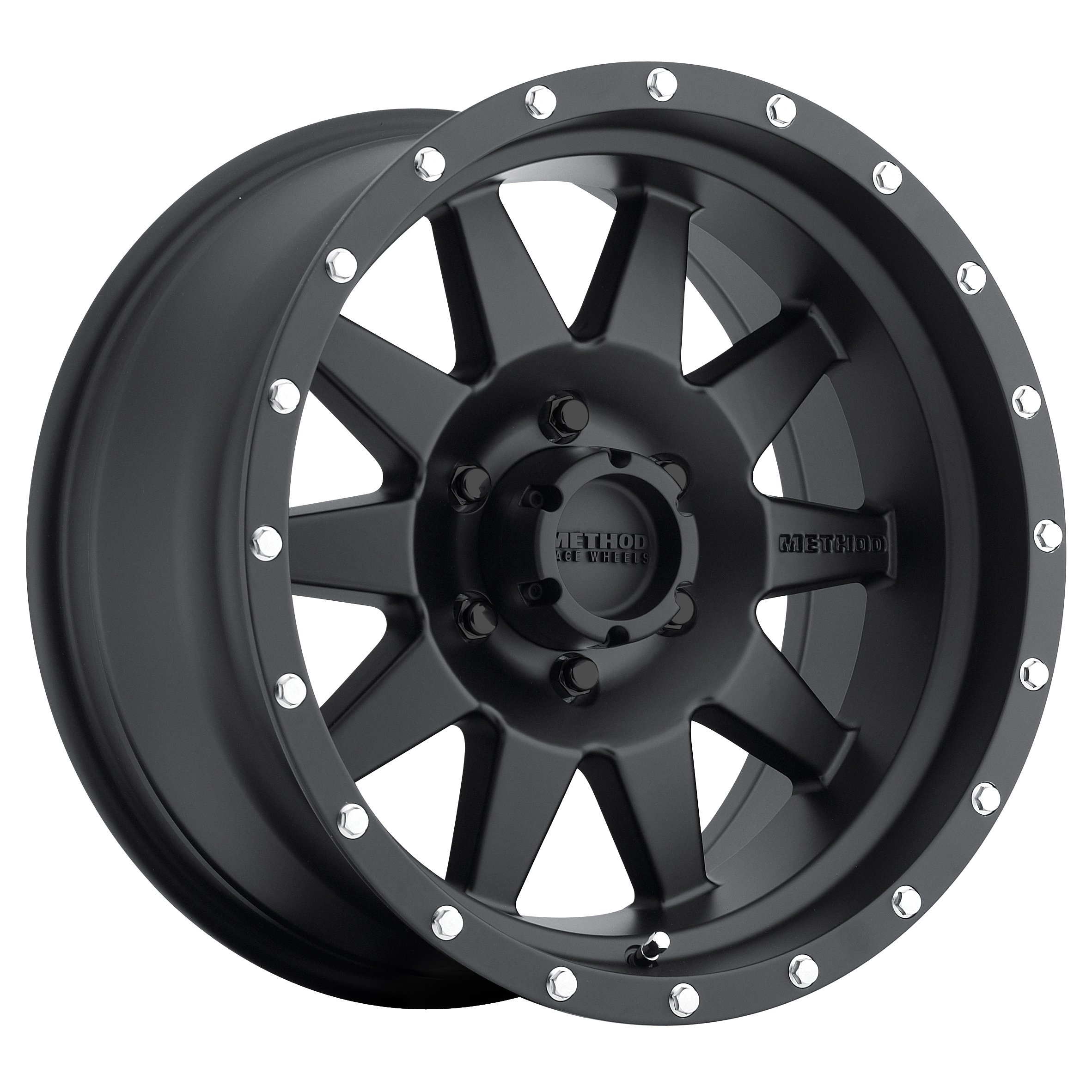 Method Race Wheels The Standard Matte Black Wheel with Stainless Steel Accent Bolts (17x7.5''/5x160mm) 50 mm offset