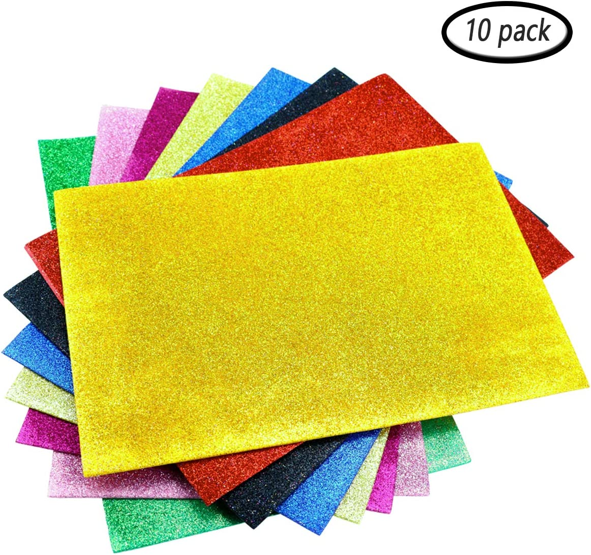 10 Colourful A4 Glitter Card Sheets Kids Arts /& Crafts Set Glittery Paper Pack.