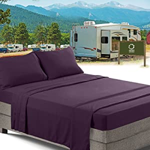RV/Short Queen Bed Sheets Set Bedding Sheets Set for Campers, 4-Piece Bed Set, Deep Pockets Fitted Sheet, 100% Luxury Soft Microfiber, Hypoallergenic, Cool & Breathable, Purple