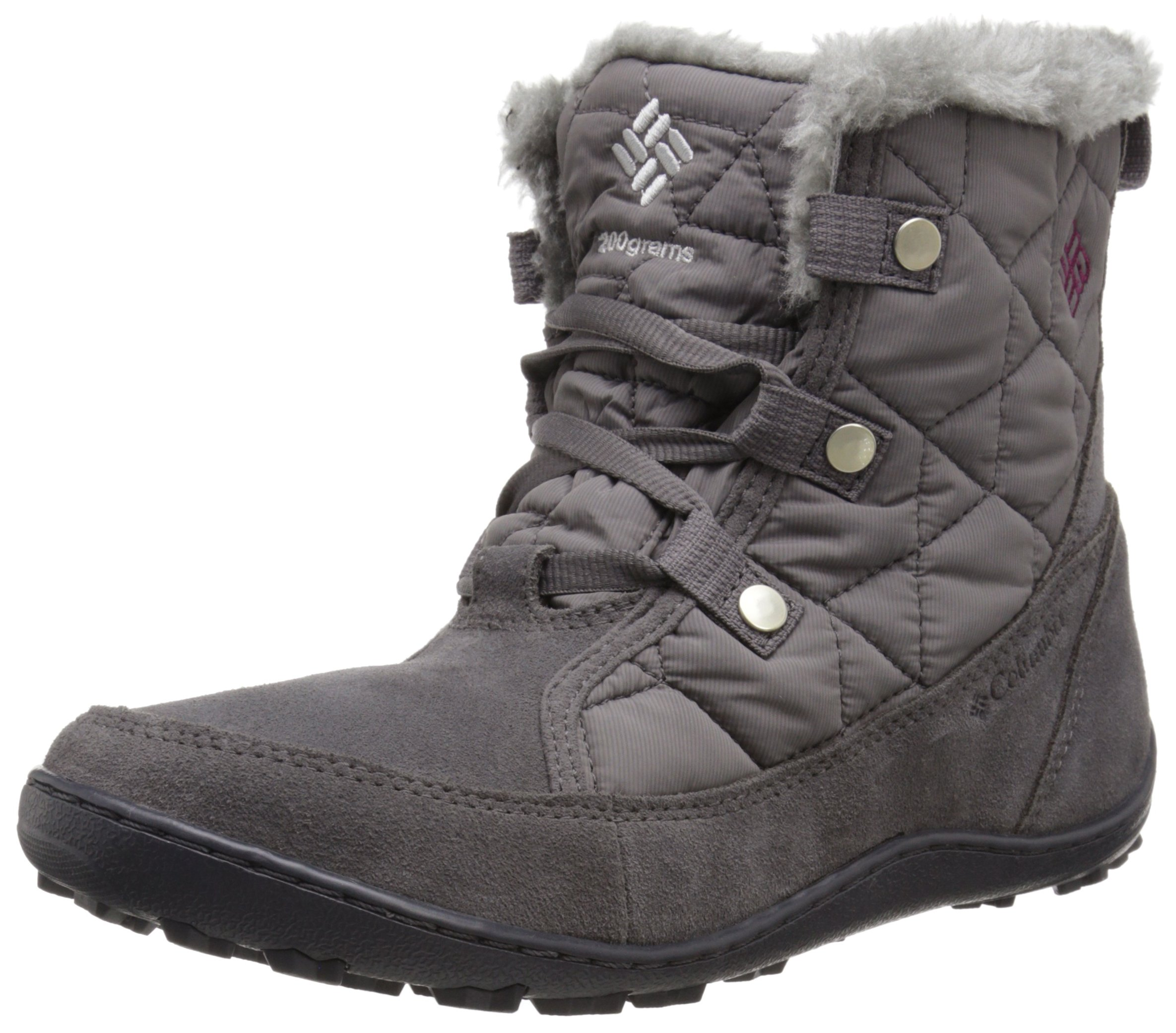 Columbia Women's Minx Shorty Omni-Heat Snow Boot, Shale, Dark Raspberry, 8.5 B US