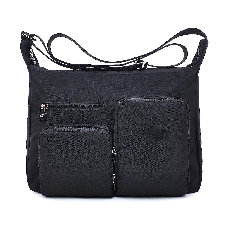 fanfanbags Borsa Tracolla Grande Donna da Scuola Postino Borse Tasche Impermeabile Nylon Borsa a Spalla Sportiva Borsetta Tasca Messenger Shoulder Bag (blu)