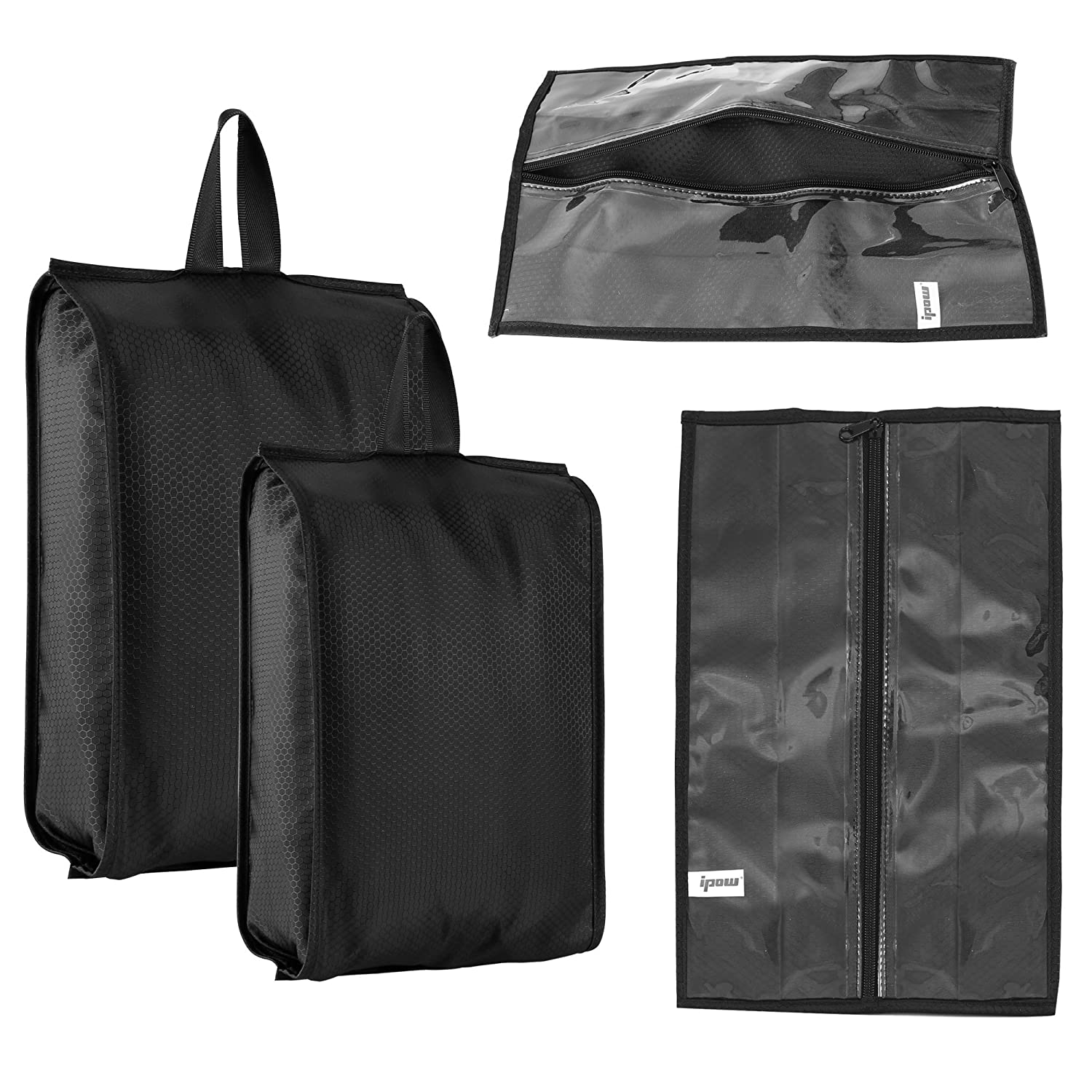 4 Pcs Ipow Portable Storage Shoes Bag Organizer Tote Waterproof Dust-Proof Holder with Zipper for Traveling, Camping, Home 2 Standard Size+2 X-Large Size,Transparent Window Design(Black)