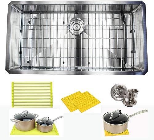 Premium 36 Inch Stainless Steel Super Sized Kitchen Sink Package – 16 Gauge Undermount Single Bowl Basin – Complete Sink Pack Bonus Kitchen Accessories – Ideal For Home Kitchen Renovation
