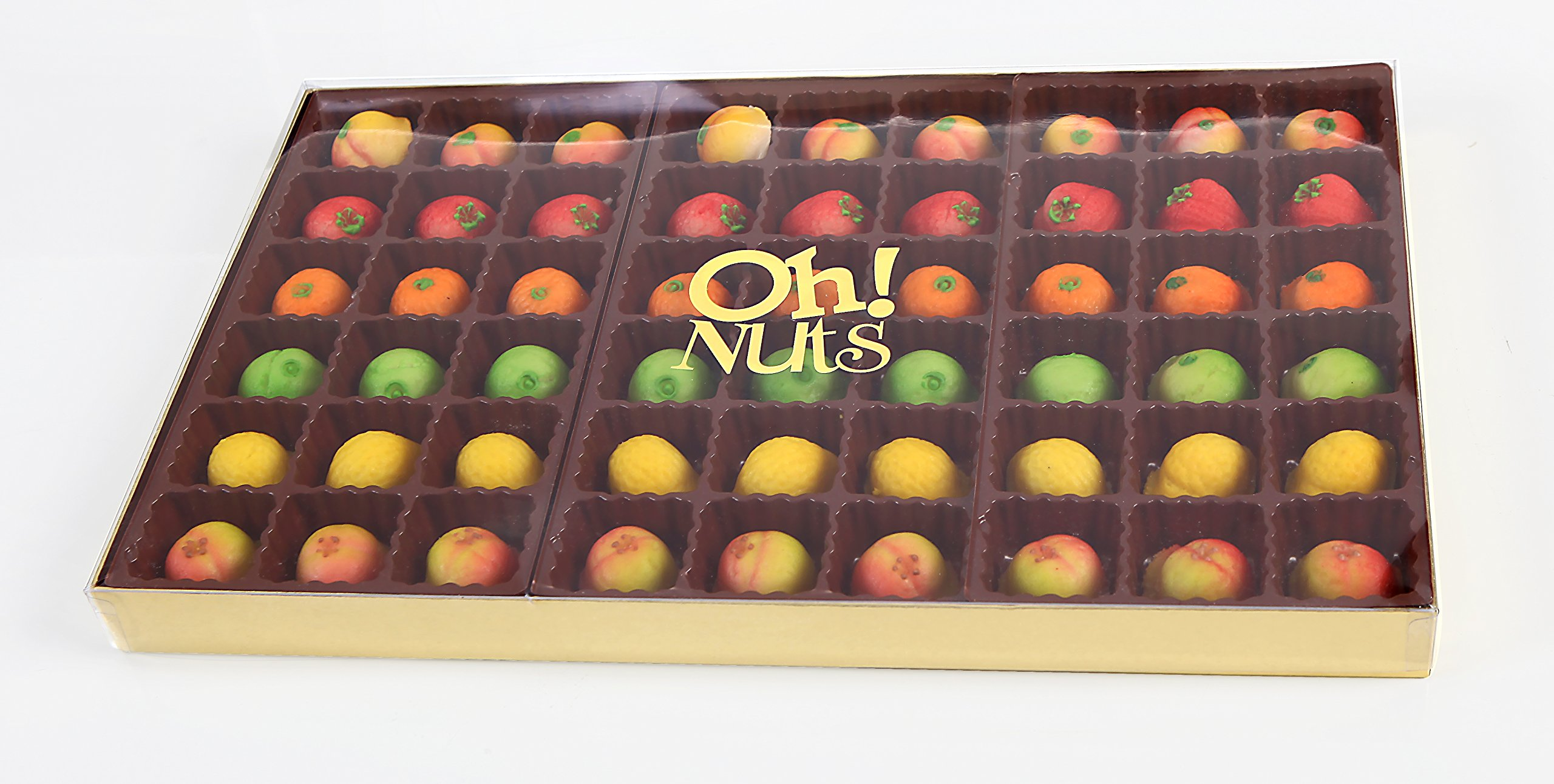 Oh! Nuts® Marzipan Candy Fruits, Holiday Gourmet Marzipans Tray in an Elegant Gift Box, Unique Basket for Women & Men Alike, Send it For Thanksgiving, Christmas Gourmet Food Idea (54 Piece) by Oh! Nuts® (Image #3)
