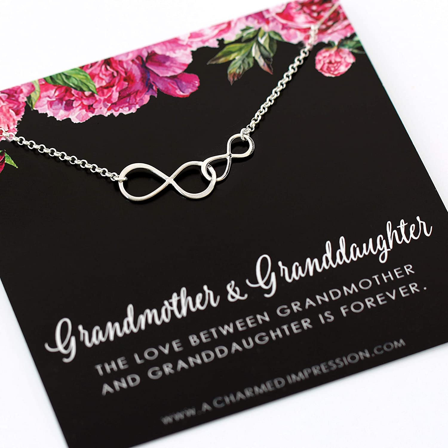 Grandmother & Granddaughter • Double Infinity Necklace • Unique Gift for Grandma • Infinite Love • Sterling Silver • Personalized Keepsake Jewelry