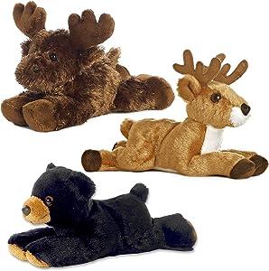 Aurora Bundle Deer Maxamoose and Black Bear Woodland Forest Mini Flopsies